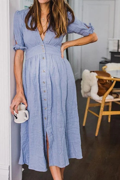 Maternity V-Neck Short Sleeve Maxi Dress