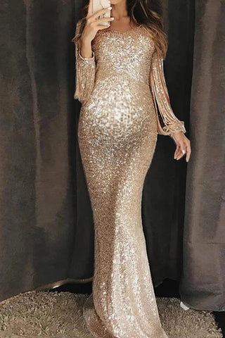 Maternity sexy sequin crew neck dress