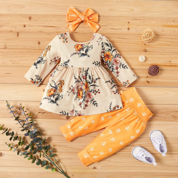 New toddler girl clothes Tops fresh Bowknot Floral Pants Headbands Clothes kids clothes Costume roupa infant