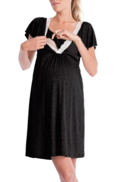 New fashion lace V-neck pleated pregnant mother  pajamas