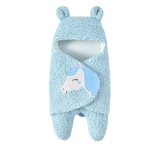 Newborn Baby Cartoon Horse Receiving White Sleeping Blanket Girl Wrap Swaddle Cotton Printed Baby Blankets