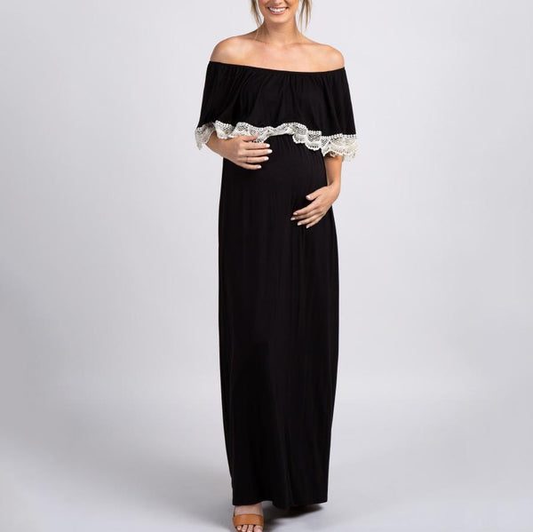 Maternity Casual One Word Collar Solid Color Stitching Lace Long Dress
