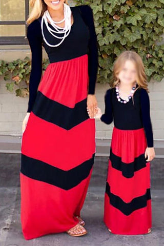 Parent-child Colouring Striped Loose Dress