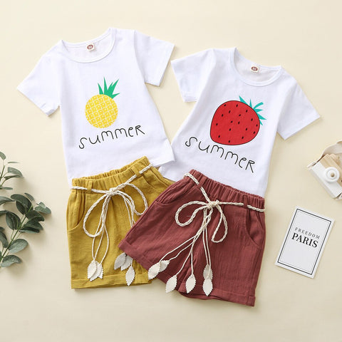 Toddler Kids Baby Girl Strawberry Pineapple Lemon Fruit Letter Print Tops + Shorts Outfits Set Baby Clothes