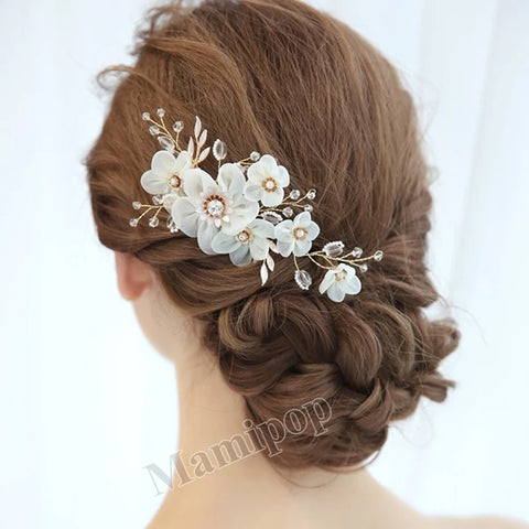 White Flower Bridal Hair Comb Gold Pearls Bridesmaids Jewelry