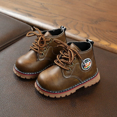 Winter Children Casual Leather Cartoon Print Martins Boots Baby Girls Boys Lace-Up Shoes Walking Shoes