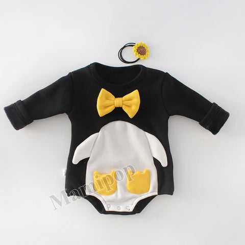 Winter Baby Round Neck  Penguin Jumpsuit Climbing Suit Plush Thickening