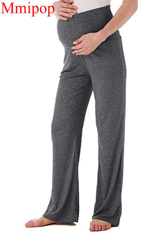 Women's Maternity Wide Straight Lounge Pants Stretch Pregnancy Trousers