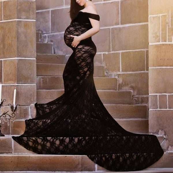 Women's Maternity Dresses  Sexy Photography Props Off Shoulders Lace Nursing Long Dress