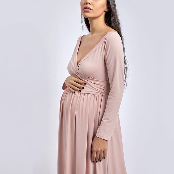 Maternity Maternity Solid Color Long Sleeve Photoshoot Gowns