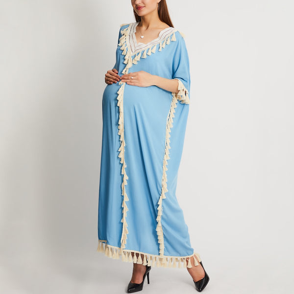 Maternity V Collar Loose Fringe Decorated Vacation Dress