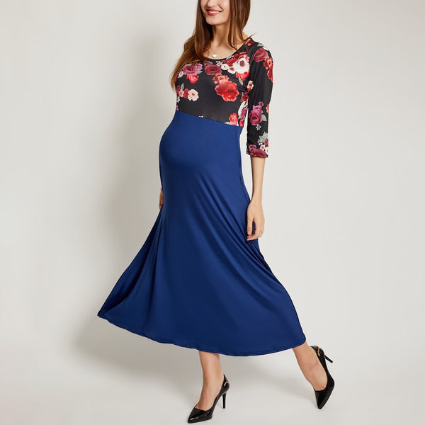 Maternity Flower Prints Color Block Ankle-Length Matching Dress
