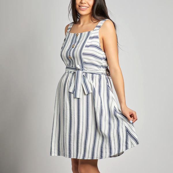 Maternity Stripes Self Tie Bowknot Decorated Matching Dress