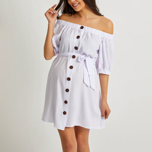 Maternity Off Shoulder Button Mini Dress
