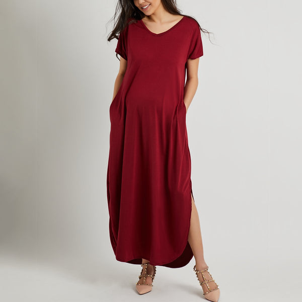 Maternity V-Neck Slit Plain Maxi Dress