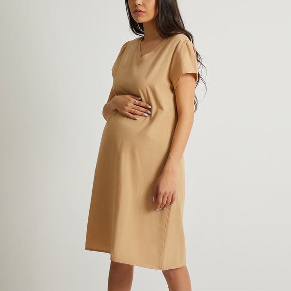 Maternity V Neck Short Sleeve Plain Casual Dress
