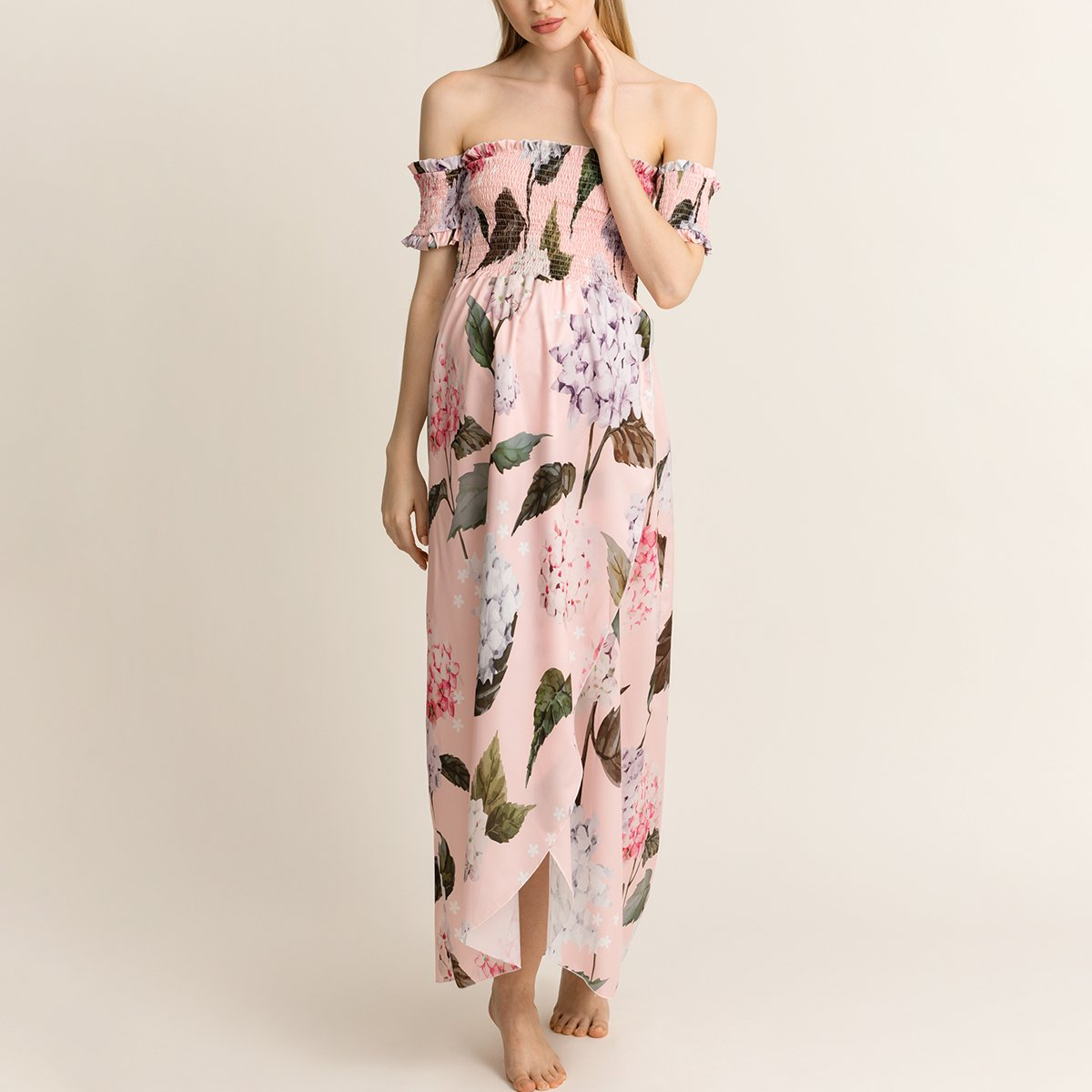 Maternity Printed Off The Shoulder Maxi Dress