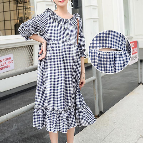 Maternity Lattice Nursing & Feeding Long Sleeve Maxi Dress