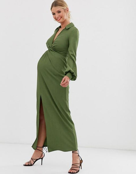 Maternity Sweet V Neck Pure Colour Slit Maxi Dress