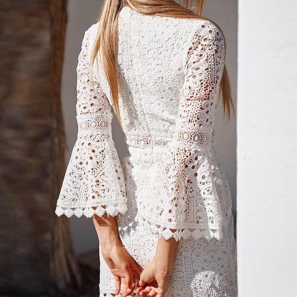 Maternity V Neck Lace Floral Bell Sleeve Dress