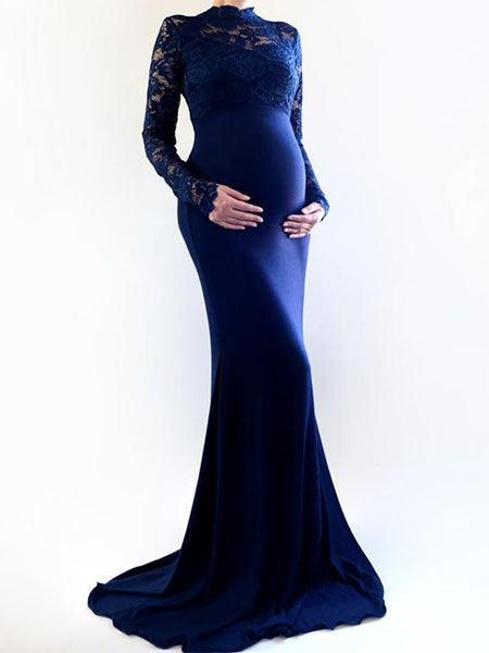 Maternity Elegant Round Neck Lace Dress