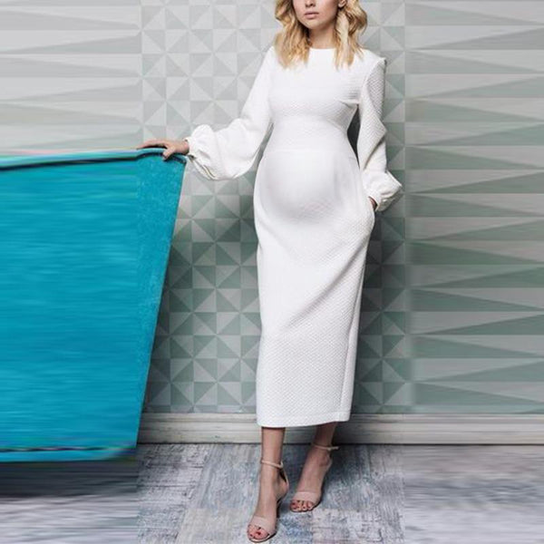 Maternity Daily Bubble Sleeves Pure Color Dress