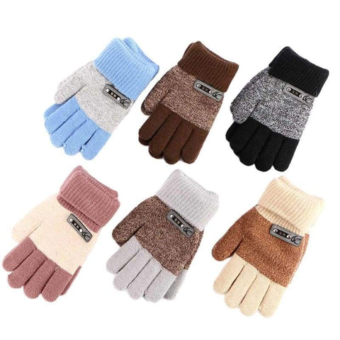 Children Warm Knitted Finger Protector Gloves