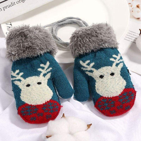 Children Winter Double Layer Gloves Cute Reindeer Printed Cuffed Wrist