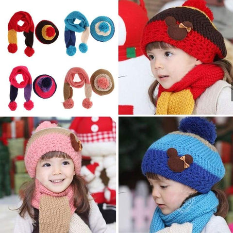 Children Winter Warm Knitted Wool Scarf Hat Set