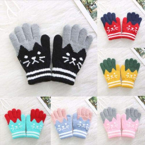 Comfortable Soft Unisex Children Winter Warm Knitted Mittens (4-8 Years)