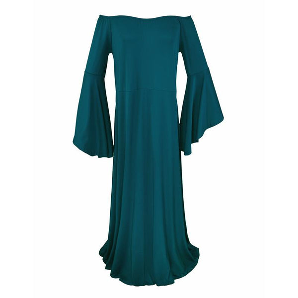 Maternity Shoulder Out Floor-length Bell Sleeve Dress