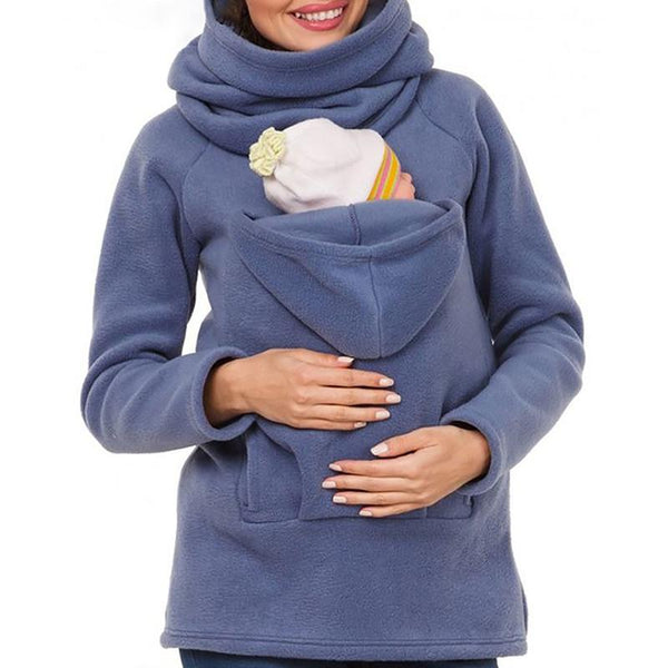 Maternity Casual Hooded Pure Colour Jacket