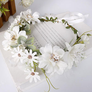 Bohemian rhinestone pearl wedding wreath headwear
