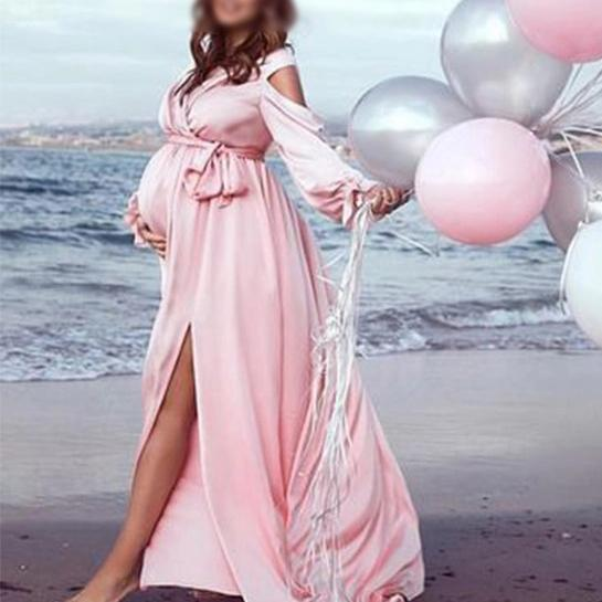 Maternity Sexy High Slit Belted Pure Color Dress