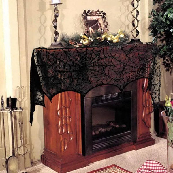 Halloween lace fireplace cloth