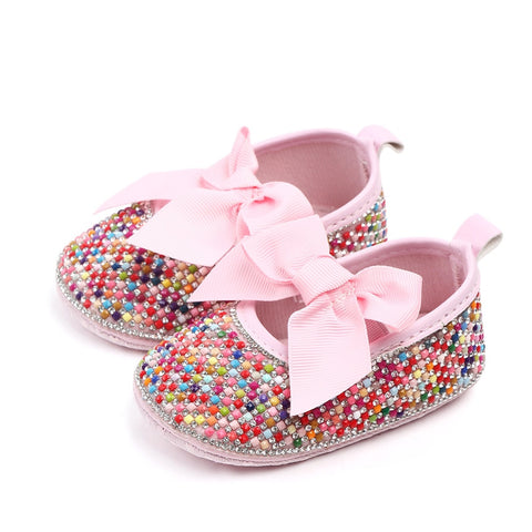 Crib shoes Girls Princess Mary Jane shoes DIY Crystal Pearl baby shoes with  Soft Soled Anti-Slip Bow Shoe Footwear