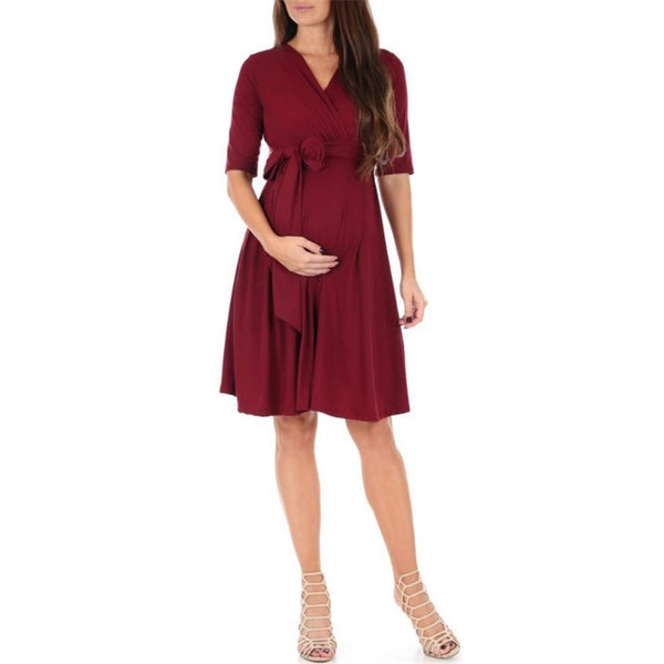 V-Neck Pleated Casual Mini Dress Clothes for pregnant women
