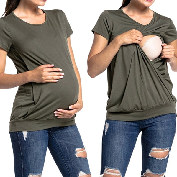 Short Sleeve Summer Maternity Nursing Tops