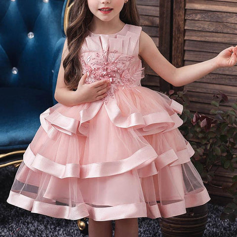 Multi-Layered Lace Embroidered Catwalk Princess Dress