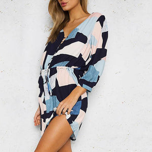 Maternity Casual V Neck Printed Colour Bracelet Sleeve Dress