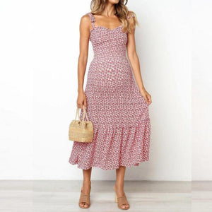Maternity Sling Small Flower Print Waist Dress