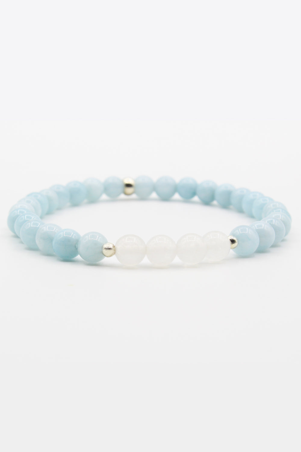 Aquamarine and Quartz Mala Bracelet
