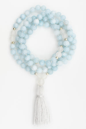 Calm Aquamarine Mala Necklace