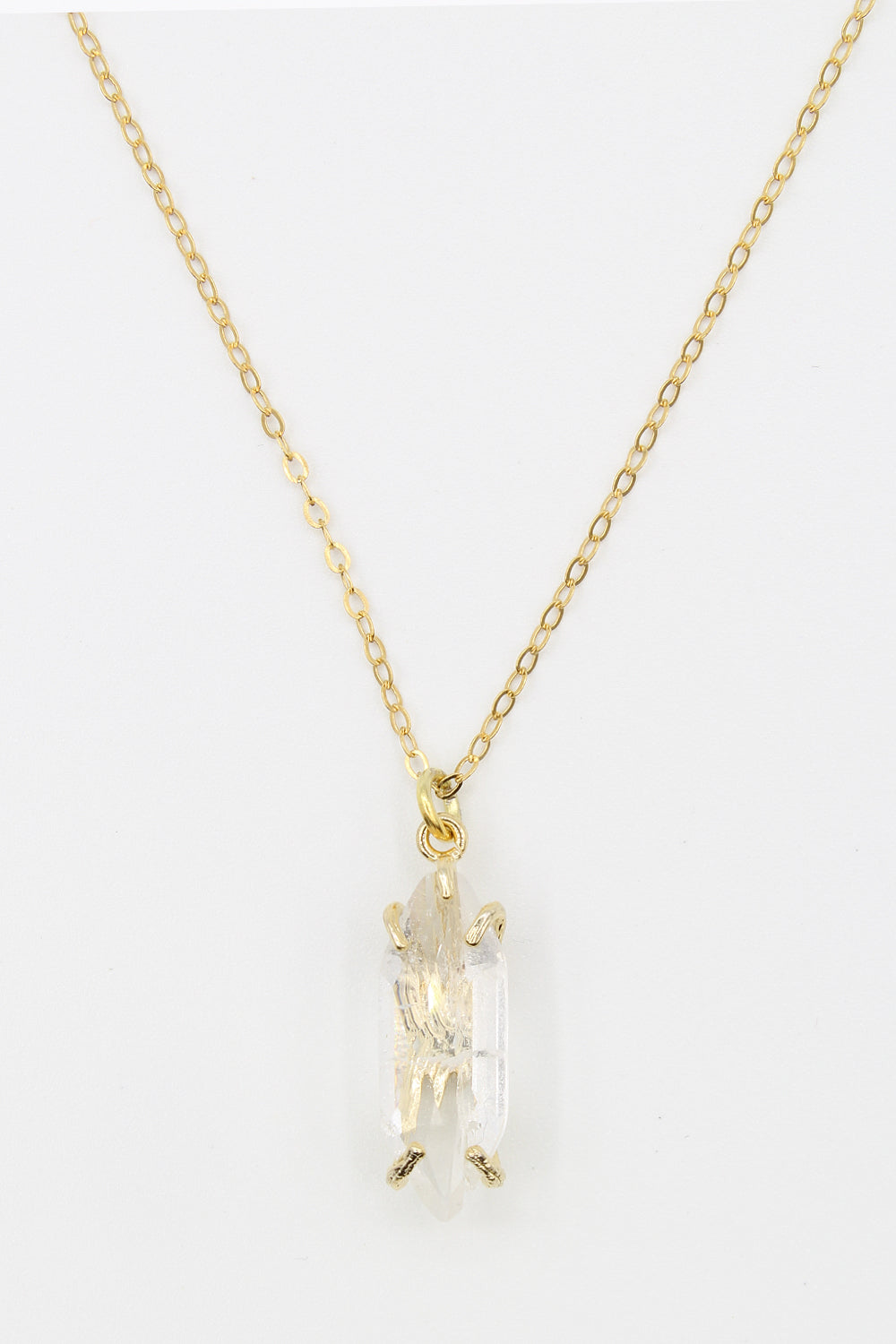 Clarity Quartz Gold Chain Necklace