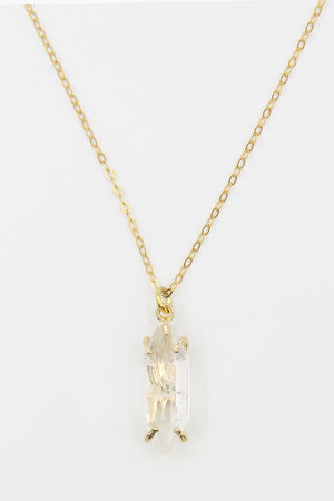Clarity Quartz Gold Necklace