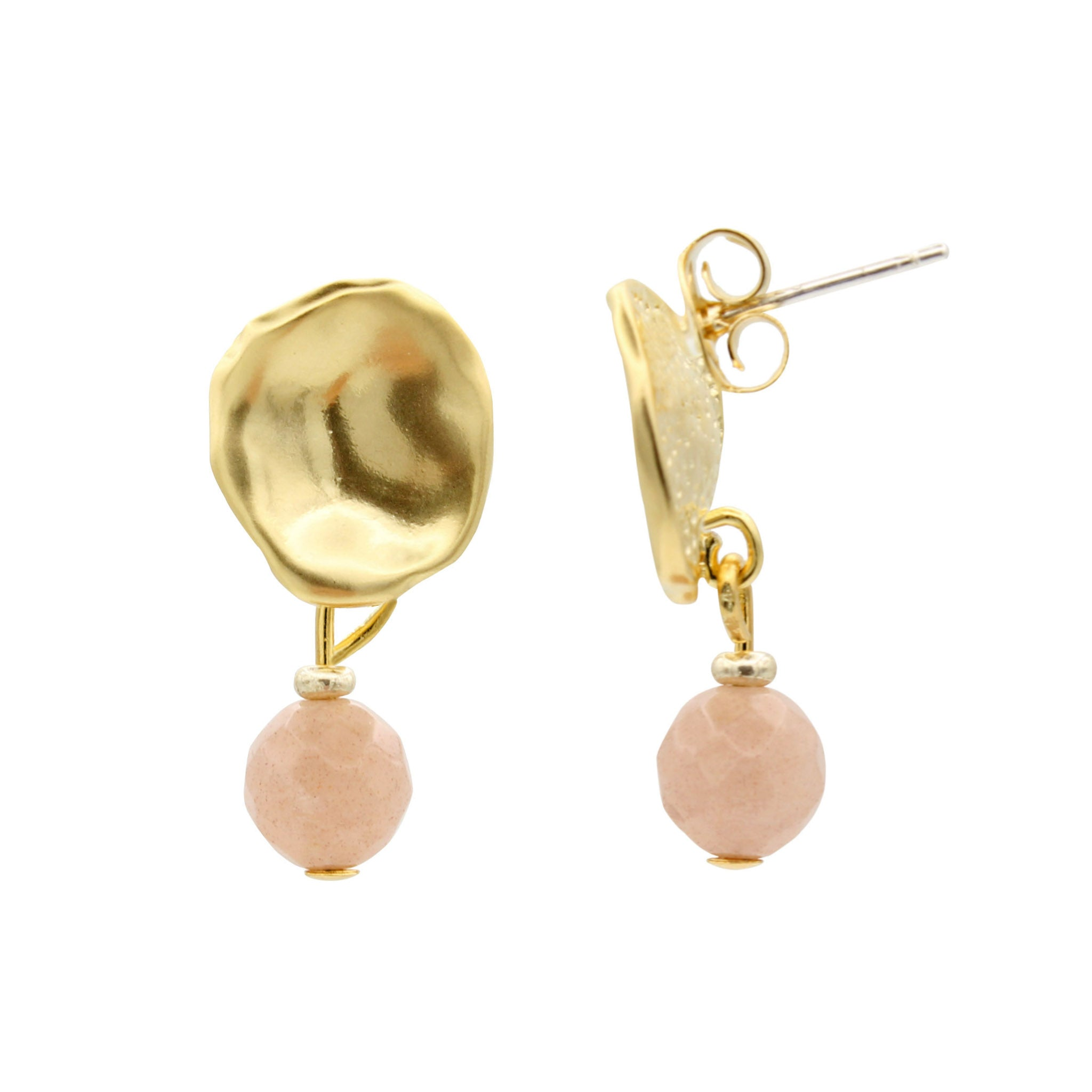 Organic Sunstone Gold Earrings