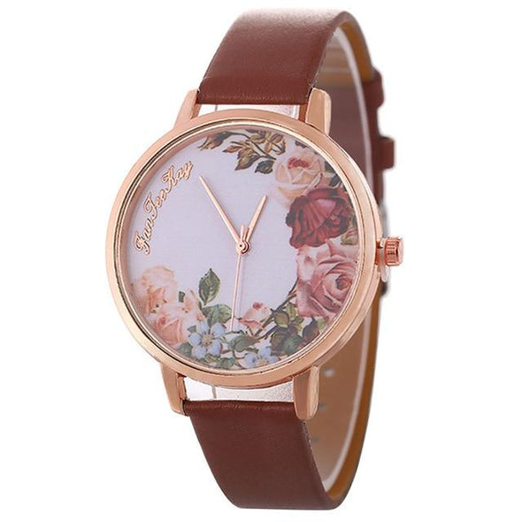 Leather Band Analog Quartz Watch | Flower Pattern Leather Band Watch |