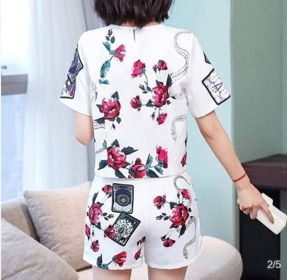 Vintage Floral Printed Blouses | O-neck Clothing Set Summer Suit |