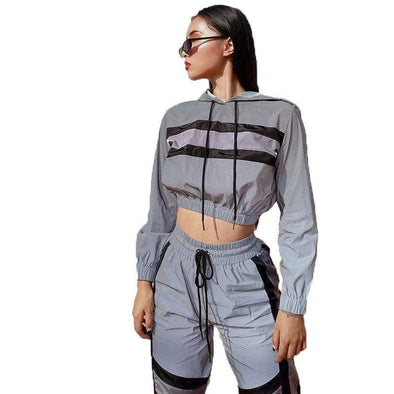 Women 2 Piece Outfits | Top + Skinny Pants | Hip Hop Hoodies | Reflective Hoodies | 2 Piece Set|