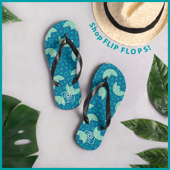 Flip Flops with pattern design from UnBlink Studio by Jackie Tahara
